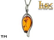 Jewellery SILVER sterling pendant.  Stone: amber. TAG: modern; name: P-B68; weight: 2.4g.