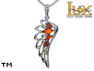 Jewellery SILVER sterling pendant.  Stone: amber. Angel wings. TAG: nature, modern, signs; name: P-C94; weight: 2.6g.