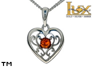 Jewellery SILVER sterling pendant.  Stone: amber. Heart. TAG: hearts; name: P-D10; weight: 2g.