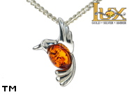 Jewellery SILVER sterling pendant.  Stone: amber. Bird. TAG: animals, signs; name: P-E76; weight: 1g.