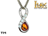 Jewellery SILVER sterling pendant.  Stone: amber. 5 pieces of cubic zirconia; Infinity symbol. TAG: modern, signs; name: P-E97-2; weight: 1.2g.