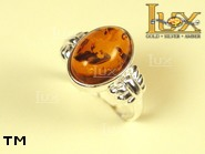 Jewellery SILVER sterling ring.  Stone: amber. TAG: ; name: R-603; weight: 3.7g.