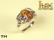 Jewellery SILVER sterling ring.  Stone: amber. TAG: ; name: R-630; weight: 3.2g.