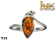 Jewellery SILVER sterling ring.  Stone: amber. TAG: hearts, modern; name: R-884; weight: 2.2g.