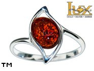 Jewellery SILVER sterling ring.  Stone: amber. TAG: ; name: R-975; weight: 2.3g.