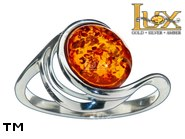 Jewellery SILVER sterling ring.  Stone: amber. TAG: ; name: R-981; weight: 2.4g.