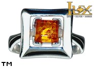 Jewellery SILVER sterling ring.  Stone: amber. TAG: modern; name: R-988; weight: 3.8g.