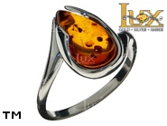 Jewellery SILVER sterling ring.  Stone: amber. TAG: modern; name: R-B68; weight: 3g.