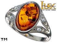 Jewellery SILVER sterling ring.  Stone: amber. TAG: modern, clasic; name: R-C49-2; weight: 2.5g.