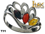 Jewellery SILVER sterling ring.  Stone: amber. Angel wings. TAG: nature, modern, signs; name: R-C94MIX; weight: 2.9g.