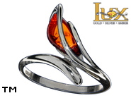 Jewellery SILVER sterling ring.  Stone: amber. TAG: modern, clasic; name: R-D44; weight: 3g.